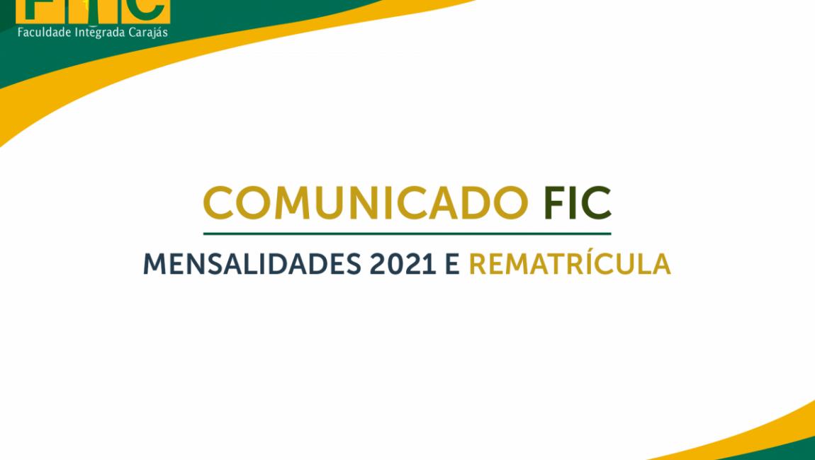 Comunicado FIC: Mensalidades 2021 e Rematrícula